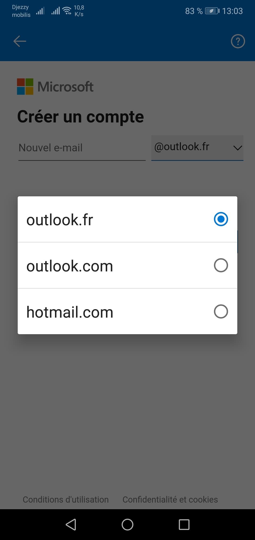 حساب هوتميل عن طريق الجوال الأختيار حسب اسم النطاق