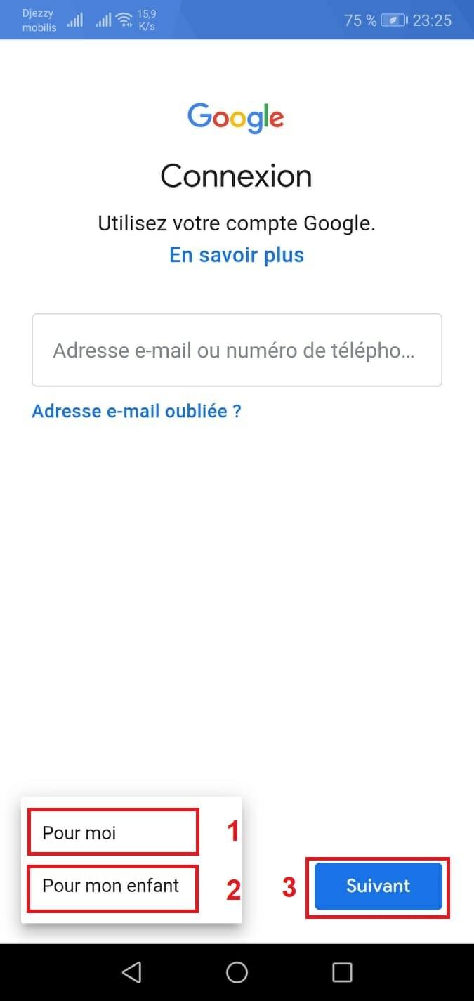 كيفية انشاء حساب جيميل بدون رقم هاتف على الجوال -اختيار نوع حساب gmail