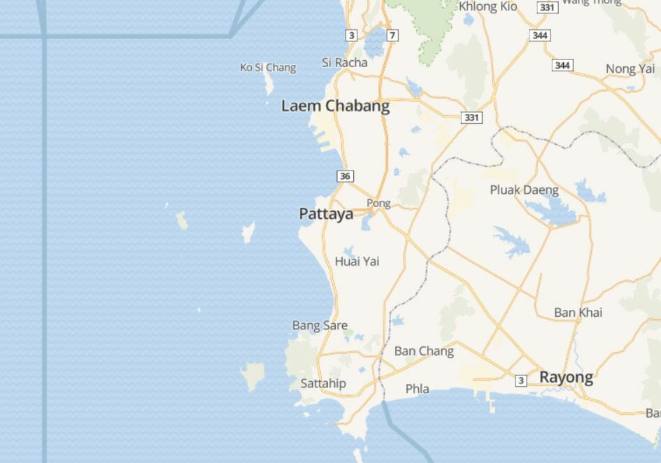 خريطة بتايا تايلاند-باتايا بالصور
