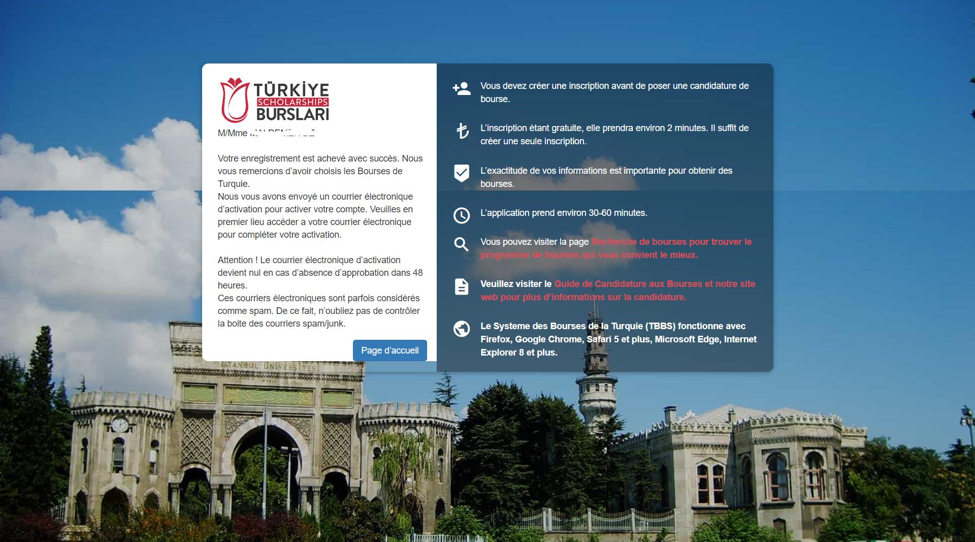 نهاية خطوات التسجيل في موقع الرسمي للمنحة الدراسية التركية 3